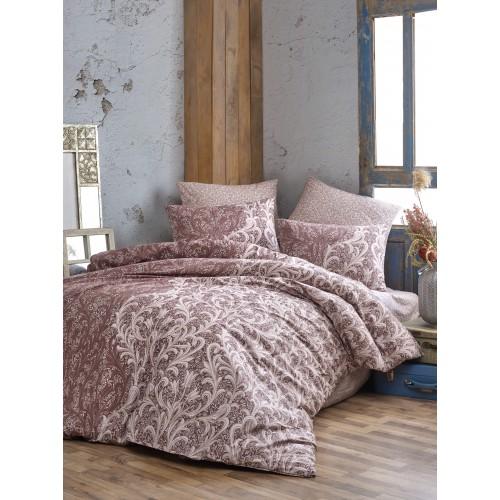 Kokvilnas gultas veļas komplekts Grand Brown 140x200 cm