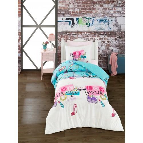 Kokvilnas gultas veļas komplekts Funny 140x200 cm
