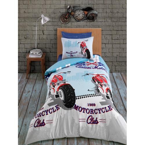 Kokvilnas gultas veļas komplekts Racing 140x200 cm