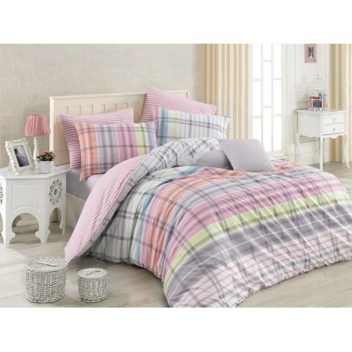 Kokvilnas gultas veļas komplekts  Riva 140x200 cm