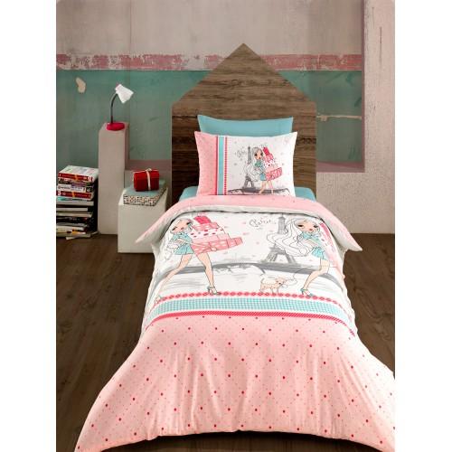 Kokvilnas gultas veļas komplekts Shopping  140x200 cm