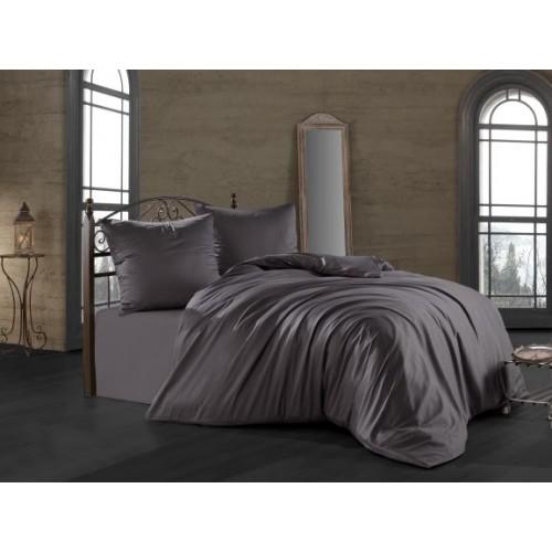 Kokvilnas satīna gultas veļas komplekts  Anthracite 140x200 cm