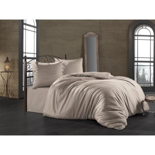 Kokvilnas satīna gultas veļas komplekts  Camel 140x200 cm