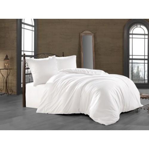 Kokvilnas satīna gultas veļas komplekts  White 140x200 cm
