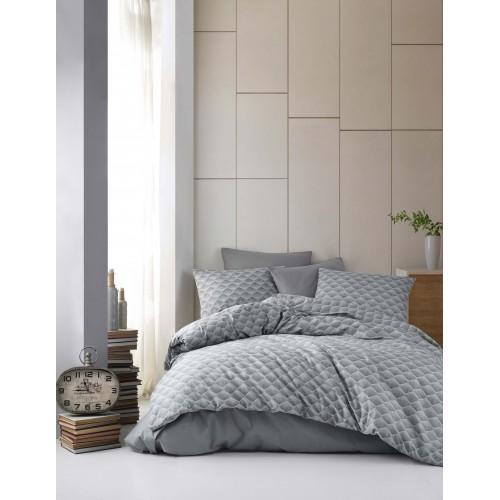 Kokvilnas gultas veļas komplekts Clara Grey 140x200 cm