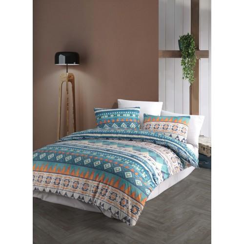 Kokvilnas gultas veļas komplekts Mari Blue 140x200 cm