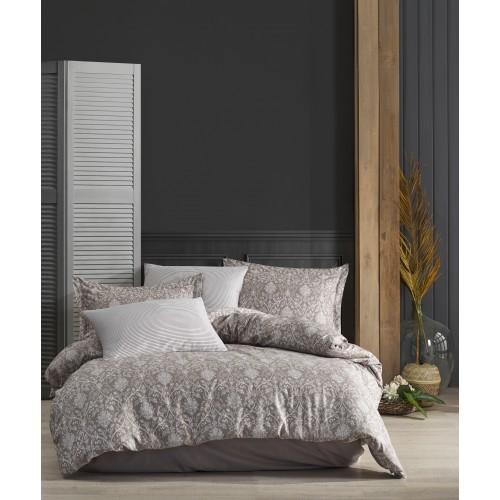 Kokvilnas satīna gultas veļas komplekts  Elegance Brown 140x200 cm